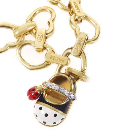 aaron basha yellow gold baby shoe charm bracelet