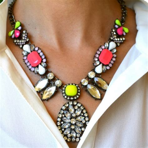 jewels statement necklace neon bright colorful