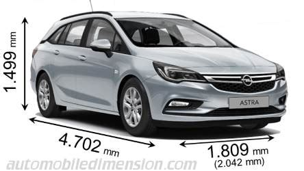 Opel Astra Size Dimensions Of Opel Vauxhall Cars Showing Length Width