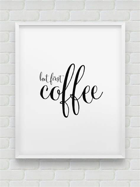 Printable Home Decor Signs | printable but first coffee wall decor instant black