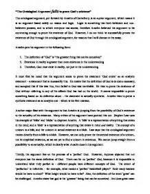 Ontological Argument Anselm Essay by Ontological Argument Essay Conclusion Ontological Argument After Anselm Philosophy Essay
