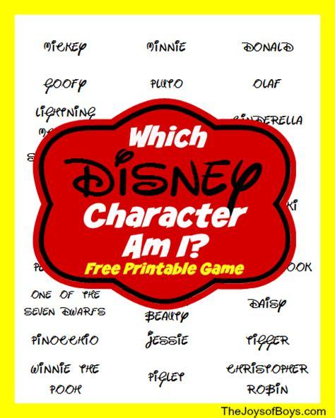 printable disney games quot which disney character am i quot printable disney game