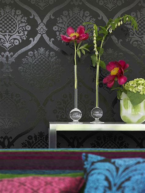 gray wallpaper and flowers picsdecor