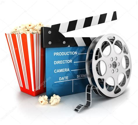 film reel stock image things to wear pinterest film reels 3d cinema clapper film reel and popcorn stock photo