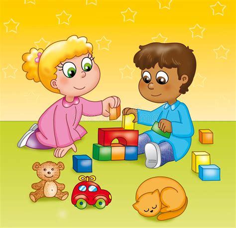 clipart bambini giocano bambini giocano in un asilo illustrazione vettoriale