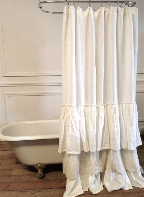 extra long lace curtains extra long linen shower curtain white ruffle shower