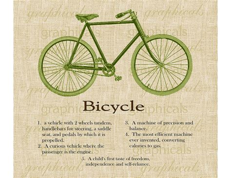 What Is The Meaning Of Decoupage - green bicycle definition instant digital graphic