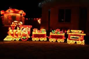 Shimmering merry christmas train lighted christmas outdoor display