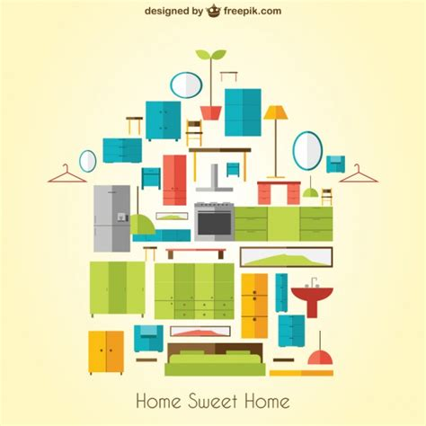 Home Sweet Home Furniture by Home Sweet Home With Furniture Vector Free