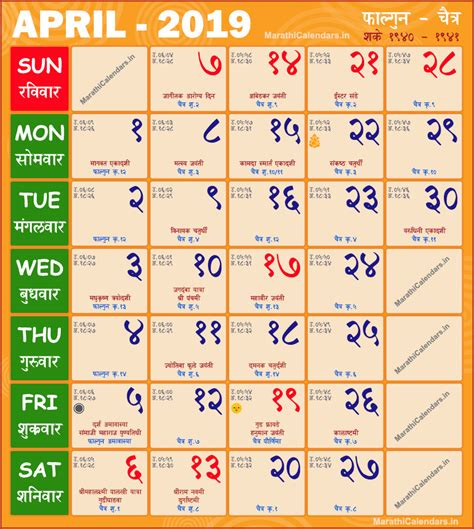 marathi calendar  april saka samvat  falgun