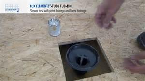 elements installation vertical shower base drain
