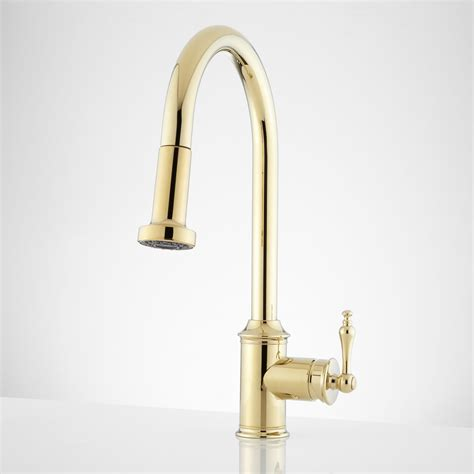brass faucet kitchen signature hardware westgate single hole pull down kitchen