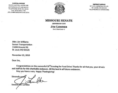 Food St Award Letter Missouri Senator Lembke Thanks Sunset For Scouting For Food 2010