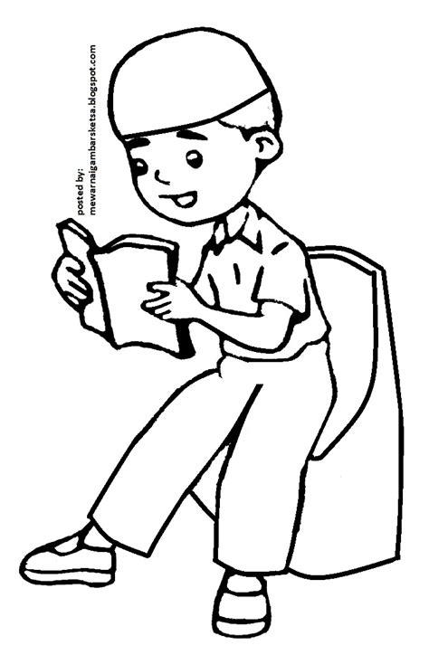 mewarnai gambar mewarnai gambar sketsa kartun anak muslim 38