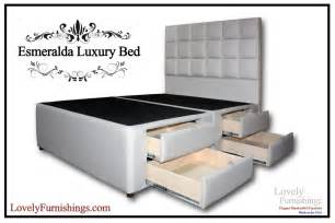 King Size Bed Frame With Storage Drawers Esmeralda Luxury Bed King Platform Storage By
