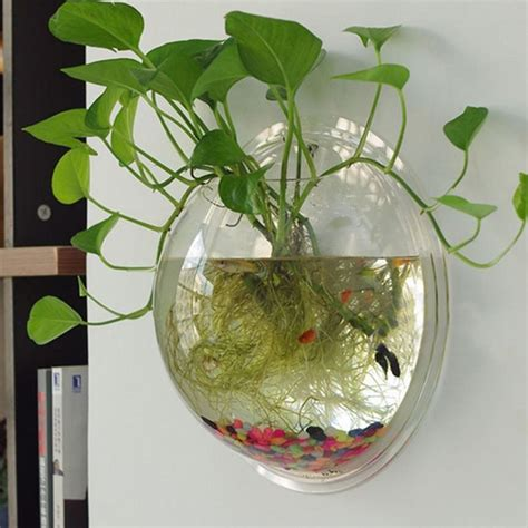 Aquatic Garden Vase by New Clear Wall Mounted Hanging Acrylic Mini Fish Bowl
