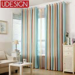 Striped Linen Curtains 1pc Blue Striped Printed Window Curtains For The Bedroom