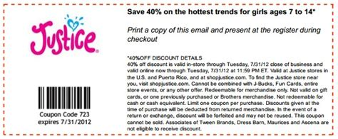 justice coupons 40 off printable 2012 justice 40 off printable coupon