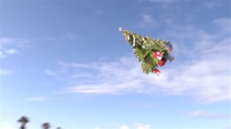 man builds remote controlled christmas tree flys it over