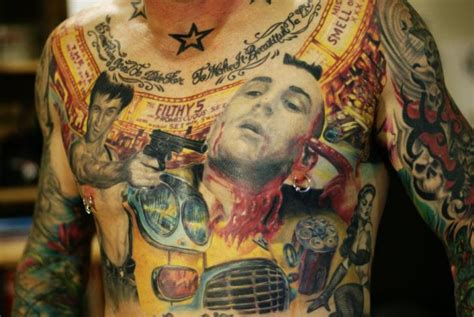 chest robert de niro tattoo by chris gherman