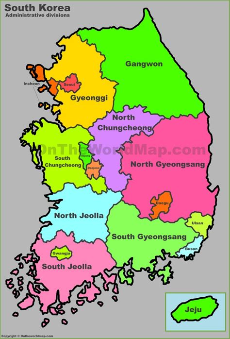 where is south korea on the map administrative map of south korea