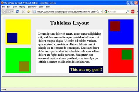 layout design in html page web page layout without tables codeproject
