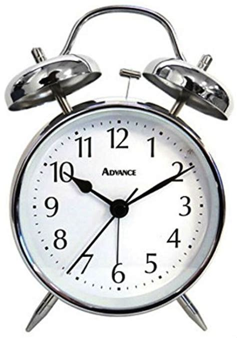 2080 advance battery powered loud bell analog alarm clock silver