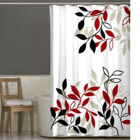 shower curtains with red in them lovely satori leaves shower curtain red black white new