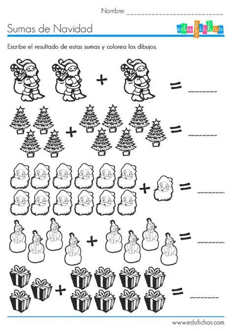sumas para ninos de primer grado sumas con dibujos de navidad matematicas pinterest