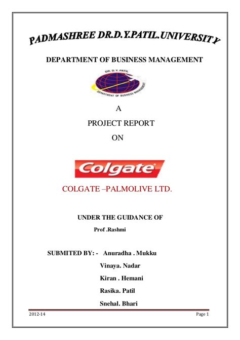 Marketing Project Topics For Mba Students by Marketing Project On Colgate