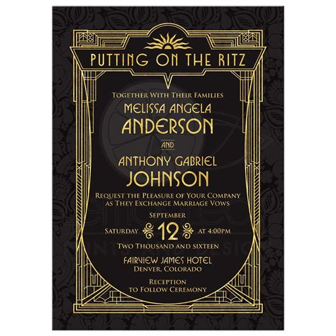 Art Deco Wedding Invitation   Black Gold Roaring 20s