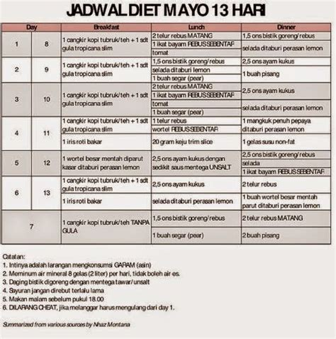 menu makanan diet mayo ampuh  turunkan berat