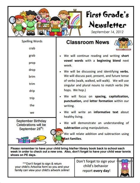 free school newsletter templates 9 kindergarten newsletter templates free sle
