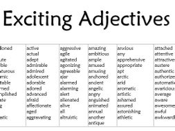exciting adjectives list by misscresources teaching
