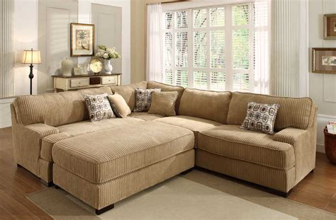 Furniture. Velvet Sectional Sleeper Couch Which Equipped With Chaise And Square Ottoman Coffee