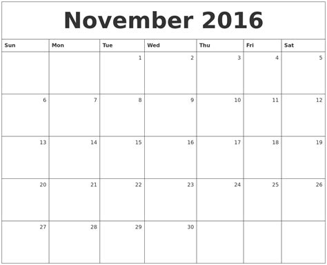 Printable Monthly Calendar November | november calendars