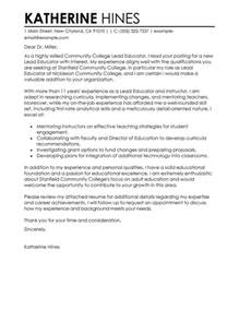 Lead Instructor Cover Letter by Lead Educator Cover Letter Exles Education Cover Letter Sles Livecareer