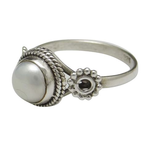 Handcrafted Rings - pearl 925 sterling silver ring band handcrafted