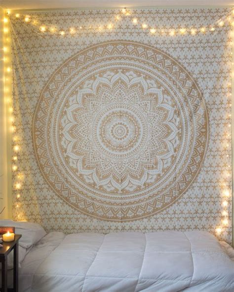bedroom tapestry white and gold boho tapestry unique bedroom tapestries