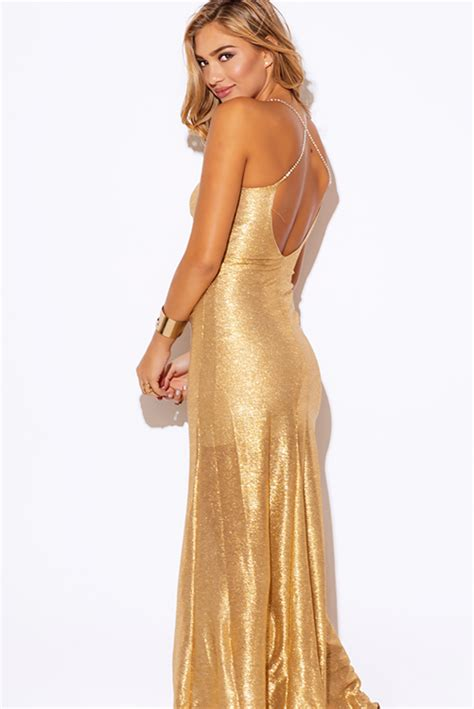 Embellished And Bejewelled Tops And Dresses by Gold Metallic Embellished Backless Formal Evening Maxi