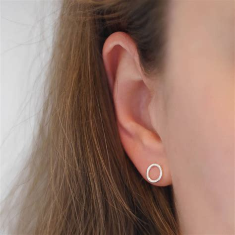 Handmade Studs - handmade hammered sterling silver circle stud earrings by