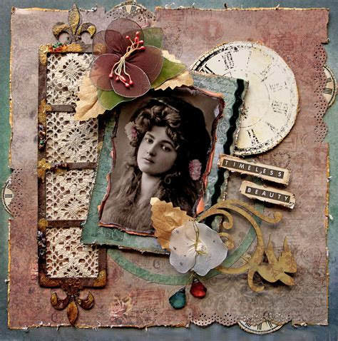 layout vintage timeless beauty premade scrapbook page vintage heritage