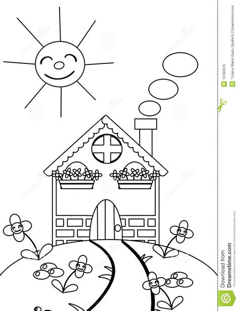 how to color a house coloring the house with flowers and sun royalty free stock