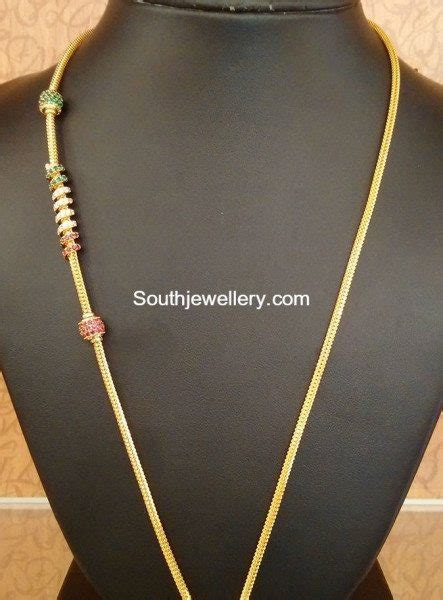 gold black chains models thaali chain models jewellery designs