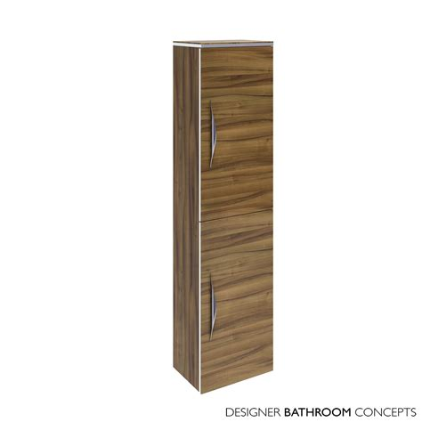 memoir designer wall hung bathroom cabinet gloss walnut