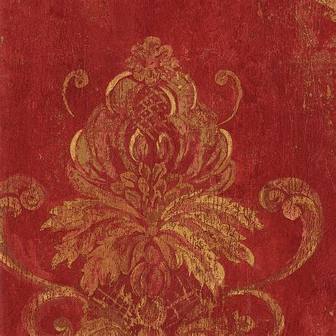 red damask wallpaper home decor shop houzz patton wallcoverings damask red and gold