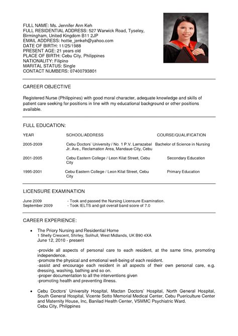 resume format for nurses resume nurses sle sle resumes