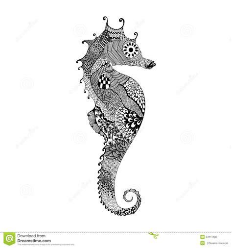 zentangle ha stilizzato il cavallo di mar nero disegnato a
