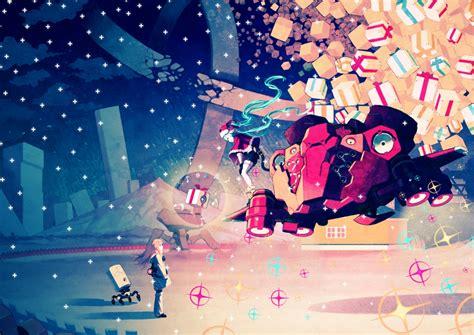 wallpaper vocaloid hatsune miku santa outfit christmas