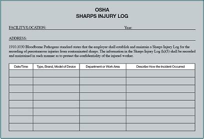 29 Images Of Osha Form 300a Template Bosnablog Com Osha Log Template